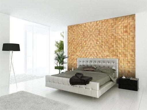 wood cubes cork wall panel tiles modern bedroom design interior